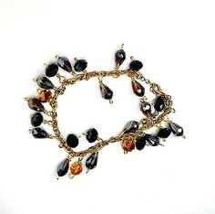 Chain-bracelet-handmade-black-champagne-AB-crystals-teardrops-size-8-or-less