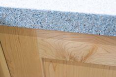 Worktop edge and maple cabinet door detail in shaker kitchen - Sheffield…