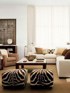Interior de casa de estilo étnico: Los detalles de cebra parece que no pasan de moda.