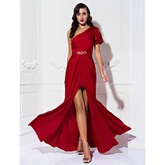 Free Measurements ! Sheath/Column One Shoulder Floor-length Jersey Evening Dress (910056)