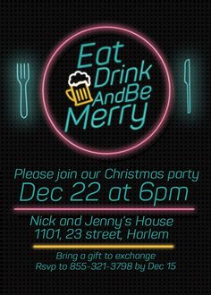 eat and drink holiday party invitations