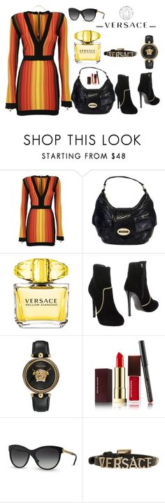 """Versace All The Way"" by perezbarrios on Polyvore featuring Balmain, Versace and Kevyn Aucoin"