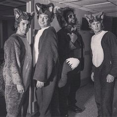 Jimmy, Questlove and Ylvis in their fox costumes.