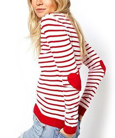 Look at this Red Heart Elbow Patch Sweater on #zulily today!