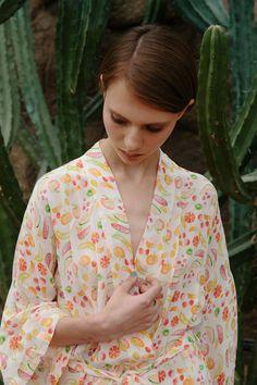 Sasha Frolova wearing the Frangipani kimono photo by markhartmanphoto