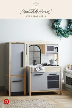 With classic subway tile & modern farmhouse fixtures, no detail was spared in this toy kitchen.