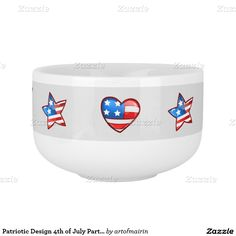 Patriotic Design 4th of July Party Soup Mugs for kids. Matching cards , postage stamps and other products available in the Holidays / 4th of July Category of the artofmairin store at zazzle.com