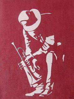 Play that jazz Jazz Poster, Jazz Art, Miles Davis, Silhouette Art, Stencil Art, Black Art, Paper Art, Art Drawings, Street Art