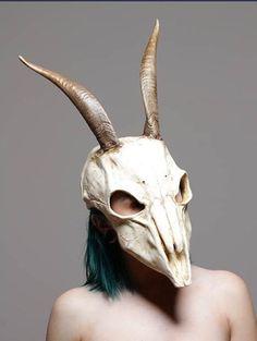Goat skull mask with short horns sz L/XL