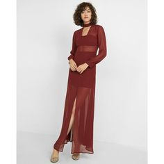 Express Halter V-Neck Maxi Dress ($50) ❤ liked on Polyvore featuring dresses, purple, purple maxi dresses, sexy maxi dresses, v neck maxi dress, maxi dresses and long sleeve v neck dress