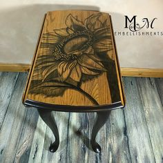 #stainedfurnitureart Hand stained sunflower on drop leaf Queen Anne table.  stain shading, shading with stain, stain painting, stained furniture art. M&M Embellishments unique home and garden accents. We specialize in furniture art using stain.  stain shading, stain painting, shading with stain, painting with stain