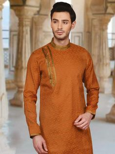Orange classic silk festive wear kurta suit - G3-MKS0477 | G3fashion.com Kurta Pajama Men, Kurta Men, Wedding Kurta For Men, Wedding Suits, Pathani For Men, Mens Shalwar Kameez, Pathani Kurta, Boys Kurta Design, Gents Kurta