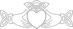 Glass etching stencil of claddagh symbol. In category: Centers, Irish, Weddings & Anniversaries
