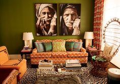 Incredible global living room in olive & orange
