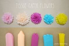 Best 9 The ultimate guide to learn how to make tissue paper flowers. Photo and video tutorial, plus sizing charts, hanging tips and creative ways to use tissue paper flowers! Tissue Flowers, Paper Flowers Diy, Flower Crafts, Diy Paper, Paper Art, Paper Crafts, Tissue Paper Pom Poms Diy, Paper Poms, Handmade Flowers