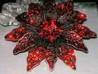 "3"" VINTAGE STY RED POINSETTIA CHRISTMAS FLOWER GOLD BROOCH PIN~SWAROVSKI CRYSTAL"