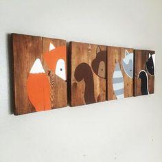 Lot de 4 animaux de la forêt chambre par AmbersWoodenBoutique