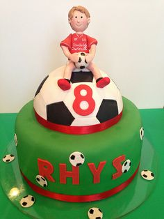 Soccer Liverpool football club fan birthday cake