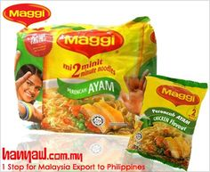 We export Maggi Chicken Instant Noodles to philippines. Visit- http://www.hanyaw.com.my/Products/Maggi_Noodles_Instant_Chicken.html