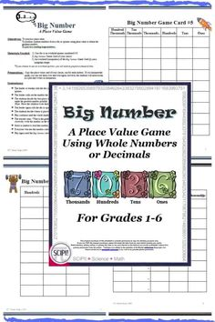Big Number is a place value math game that requires critical thinking and reasoning skills and provides motivation for the learner to practice place value by positioning random numbers on a game board to obtain the greatest or least number and includes whole numbers as well as decimals. Seven game boards are included in this ten page resource packet. The game boards vary in difficultly. Several children's books that talk about place value are listed at the end of the handout.