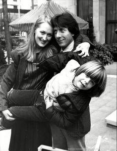 Streep with Dustin Hoffman and Justin Henry, her co-stars in 'Kramer vs Kramer' (1980).