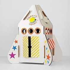 A cardboard rocket ship you can color yourself that the kids can climb into!  Why didn't they have this when I was a kid?!?