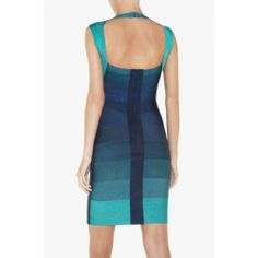 herve leger ombre cap sleeve bandage dress aqua