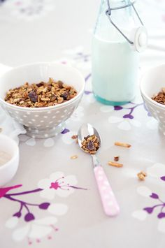 chocolate granola with pumpkin seeds, almonds, millet puffs, rice puffs, and old fashioned rolled oats