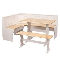 Padstow 3 Piece Solid Wood Breakfast Nook Dining Set by August Grove Corner Dining Nook, Breakfast Nook Dining Set, Dining Room, Dining Table, Wood Table Bases, Solid Wood Table, 3 Piece Dining Set, Dining Sets, Picnic Style