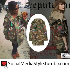 Buy Mindy Kaling and Taylor Swift's Oversized Camo Jacket with Patch Detail, here!