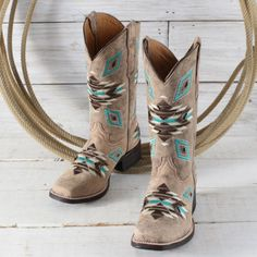 Corral Teen Aztec Square Toe Boots