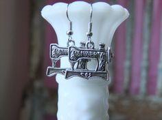 Silver bronze sewing machine earrings dangle Singer sewing machine vintage antique silver bronze metal earring on Etsy, $10.00