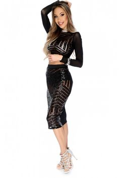 Sexy Black Sequin Sheer Long Sleeve Two Piece Dress