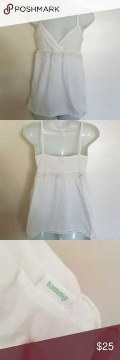 Tommy Jeans White Babydoll Top, Size L Cute white cotton babydoll  Camisole Top by Tommy Jeans.  Comfortable, easy fit and goes with everything.  Adorable crochet trim all around bodice.  Size L Tommy Jeans Tops
