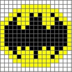 Free Batman Logo Cross Stitch Chart or Hama Perler Bead Pattern Crochet Pixel, Crochet Chart, Crochet Stitches, Free Crochet, 8 Bit Crochet, Pixel Crochet Blanket, Hat Crochet, Knitting Charts, Knitting Patterns