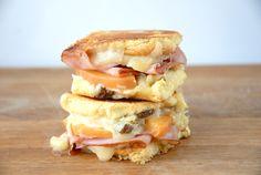 Peachy Peach Grilled Cheese -- virginia ham, peaches, gouda grilled cheese
