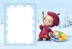 Masha and the Bear Kids Snowy Transparent PNG Frame   Gallery Yopriceville - High-Quality Images and Transparent PNG Free Clipart