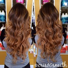 Soft honey balayage highlights and big waves - www.beautybycristen.com