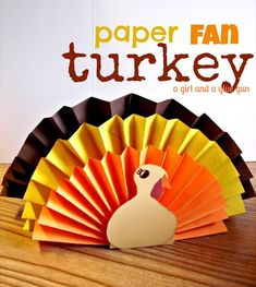 Paper Fan Turker from @kimbowest | Kids Thanksgiving Crafts