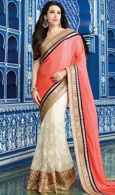 Set the occasion ablaze like karisma kapoor in this off white and salmon color net chiffon half n half sari. The beautiful butta, lace and resham work a significant characteristic of this saree. Upon request we can make round front/back neck and short 6 inches sleeves regular saree blouse also. #trendsetter #pinkwhitesari #bollywoodcollection