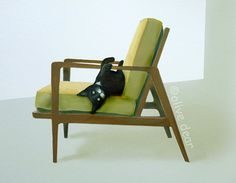 cat on mid century chair 2  pigment print by olivedear on Etsy, $30.00