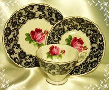 Royal Albert ~ Senorita ~ Black Lace & Roses ~ Trio ~ Tea Cup & Saucer & Side Plate