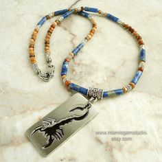 Mens Beaded Blue Stone Necklace with Scorpion Tag Stainless Steel Pendant, Sodalite, Picture Jasper, Handmade by mamisgemstudio $39.95 - $42.94
