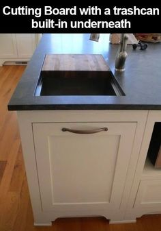 12 Awesome Kitchen Hacks For Keeping A Super Clean Kitchen - here a cutting board and opening are positioned above the trash can. - Love Home Decor Kitchen Inspirations, House Design, Dream Kitchen, Cool Kitchens, Home, Kitchen Remodel, Home Remodeling, New Kitchen, Home Kitchens