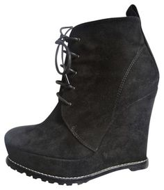 BARBARA BUI Black Suede Wedge Ankle Boots / Booties. size 36 www.fullcirclefashion.com