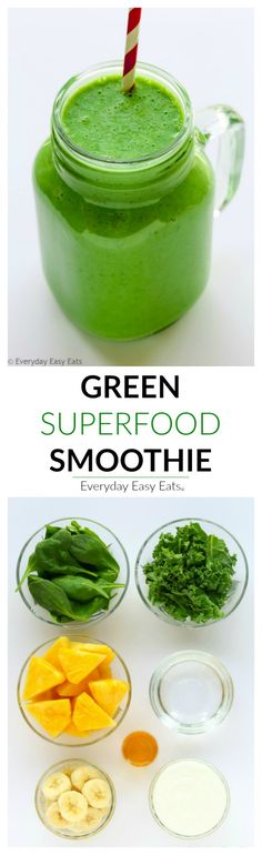 This nourishing Green Superfood Smoothie is the perfect way to start your day. Made with kale, spinach, pineapple, banana, Greek yogurt and honey!