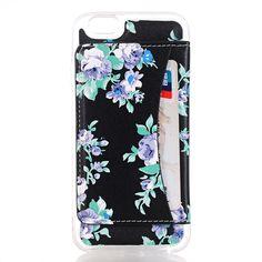Javu - iPhone 5(s) Hoesje - Harde Back Case met Opbergvak Bloemen Paars | Shop4Hoesjes