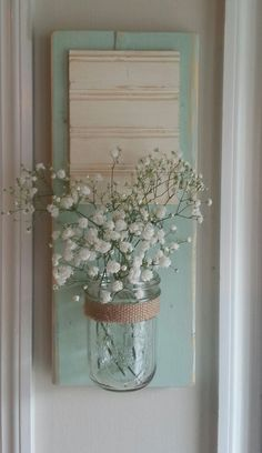 mason jar wall vase by whitepinecrafters on Etsy, $24.00