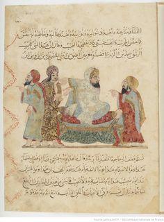 Les Makamat de Hariri ; exemplaire orné de peintures exécutées par Yahya ibn Mahmoud ibn Yahya ibn Aboul-Hasan ibn Kouvarriha al-Wasiti.   Gallica