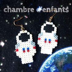 Astronaut earrings perler beads by nobuco025